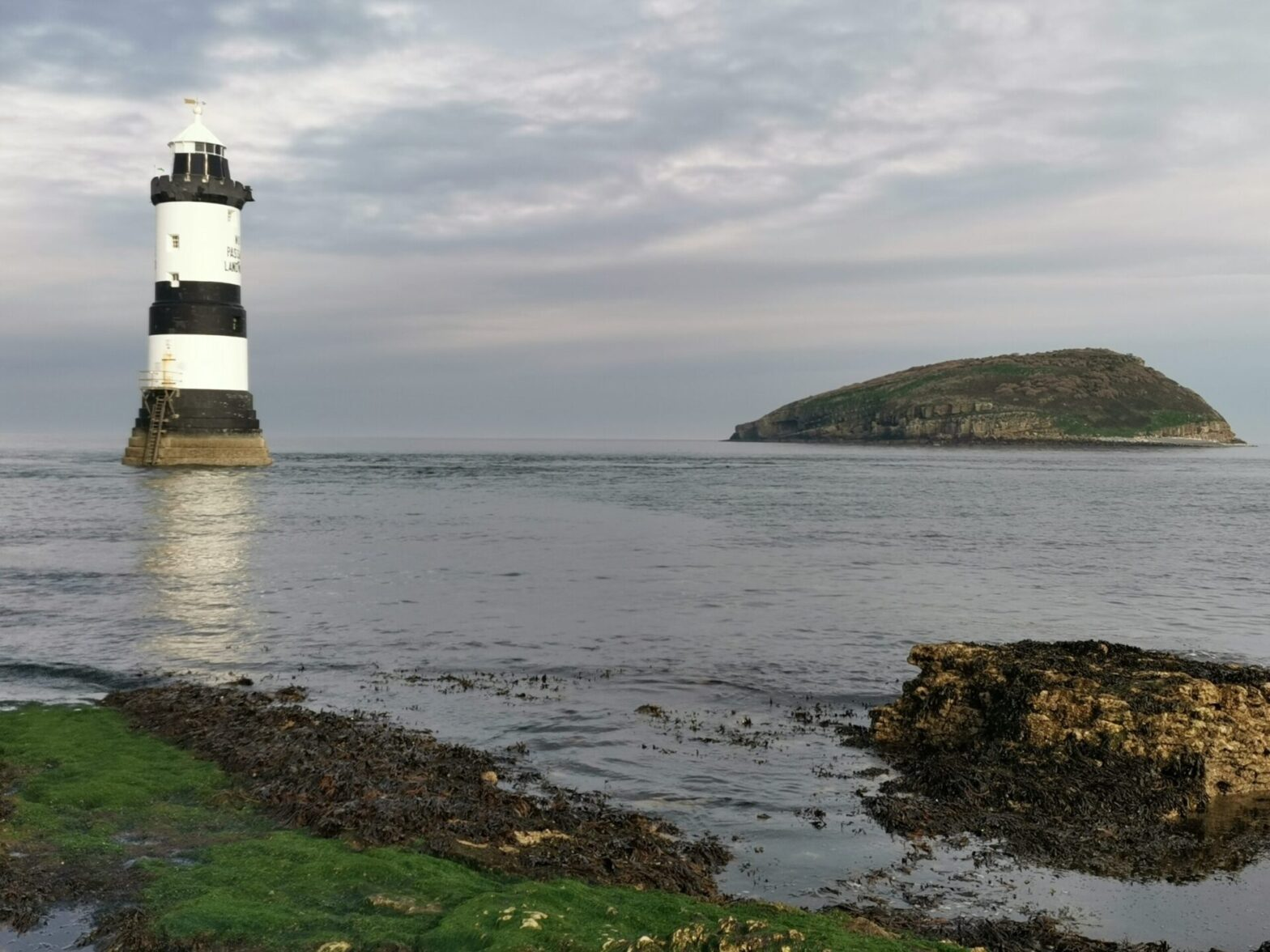 Puffin Island or Ynys Seiriol, Anglesey, and lighthouse
