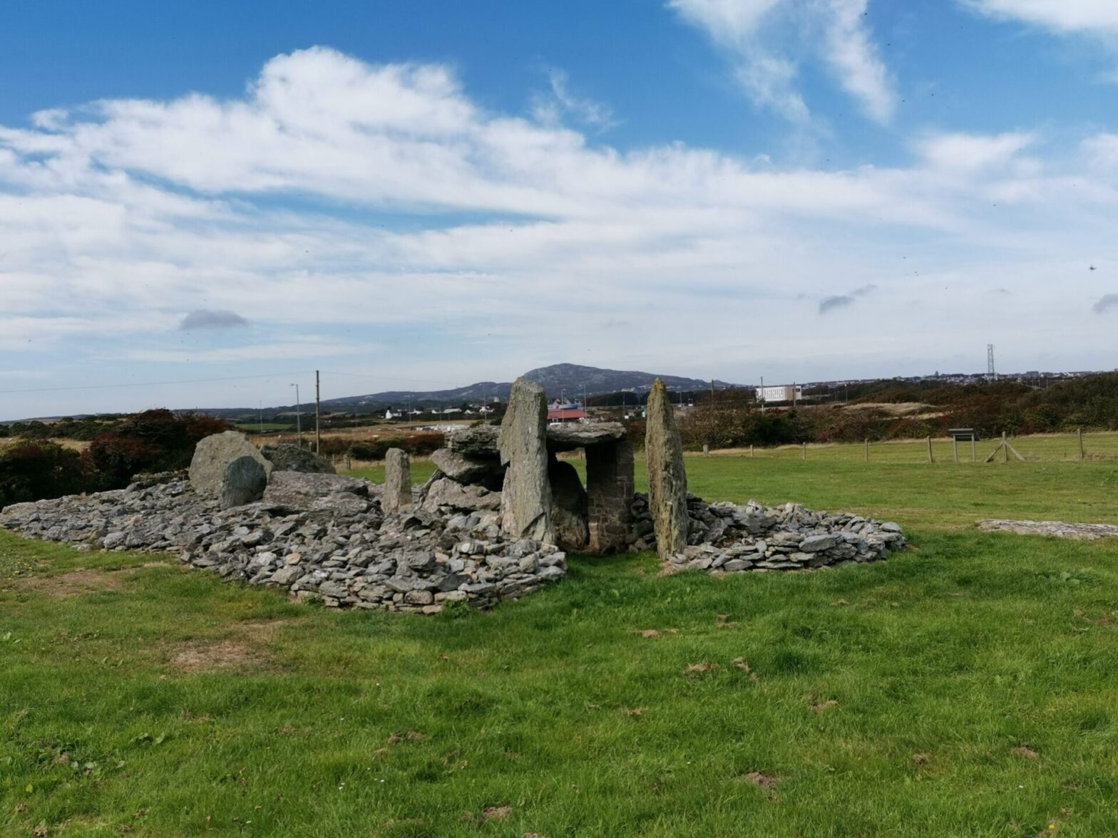 Trefignath prehistoric burial chamber, visited on Prehistric Ynys Cybi Bike Tour, Anglesey
