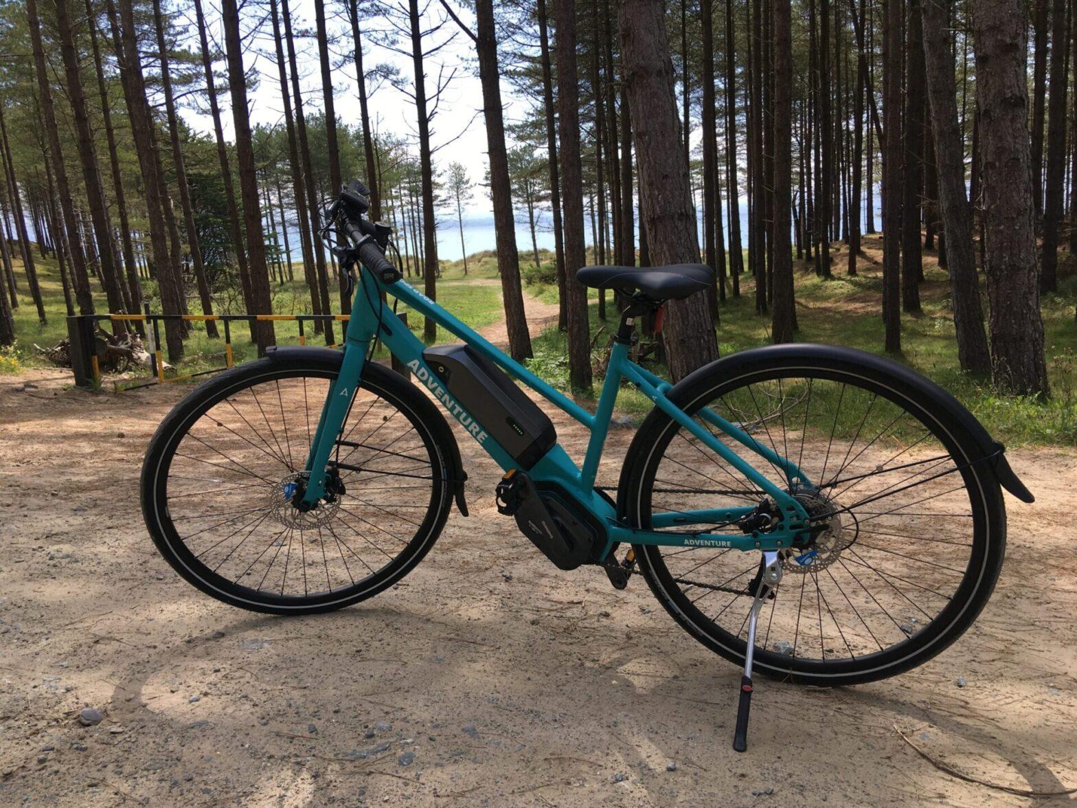 An electric bike in Newborough forest.